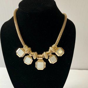 NWT Faux Moonstone Bold Gold Statement Necklace